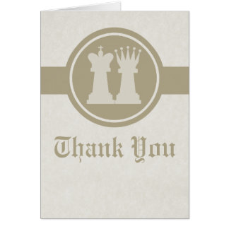 Chess King and Queen Wedding Thank You Card, Latte Card