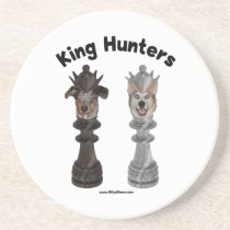 Chess King Hunters Dogs Drink Coaster