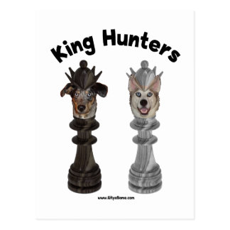 Chess King Hunters Dogs Postcard