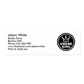 Chess king player business cards