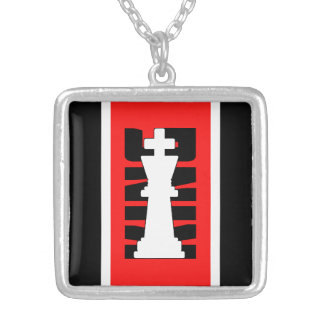 Chess King White Customizable Silver Plated Necklace