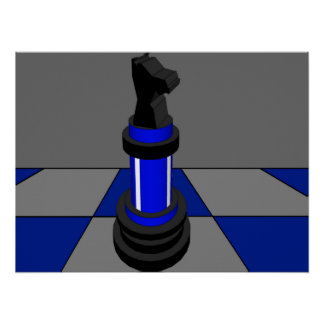 Chess Knight Chessboard Blue CricketDiane Poster