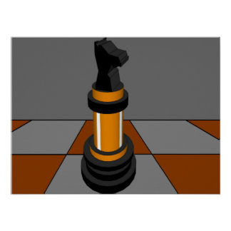 Chess Knight Chessboard Gold CricketDiane Posters