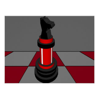 Chess Knight Chessboard Red CricketDiane Print