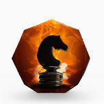 """Chess Knight in Flames Acrylic Award<br><div class=""""desc"""">illustration of a Knight Chess piece with fire background.</div>"""