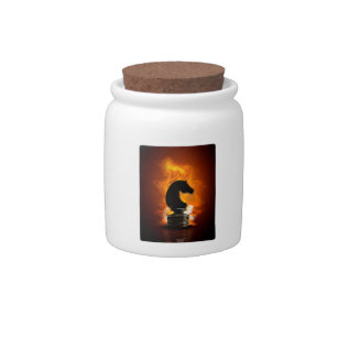 Chess Knight in Flames Candy Jar