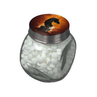 Chess Knight in Flames Glass Candy Jar