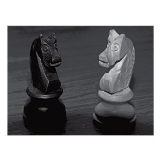 Chess Knights / Horses - Black and White Poster