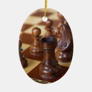 Chess Mahogany Ceramic Ornament
