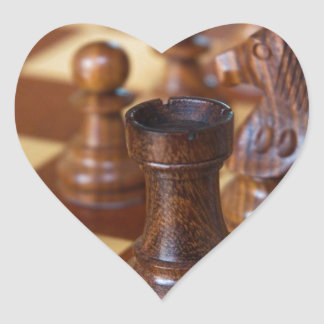 Chess Mahogany Heart Sticker