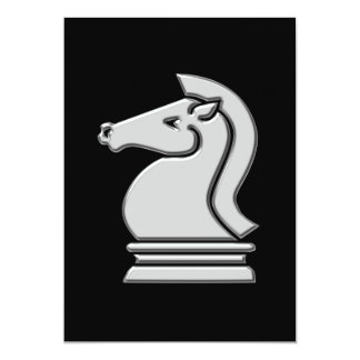 Chess Match Cool Metallic Knight Horse Invitations