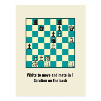 Chess Mate In 1 Puzzle 1 Postcard