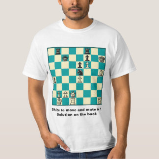Chess Mate In 1 Puzzle #1 Value T-Shirt