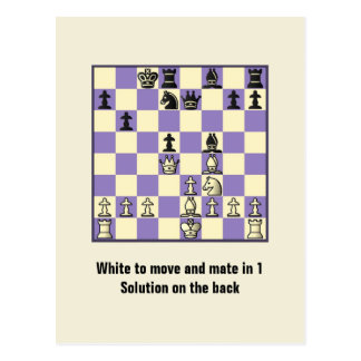 Chess Mate In 1 Puzzle 2 Postcard