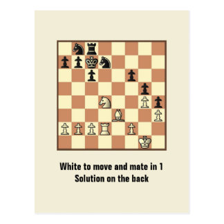 Chess Mate In 1 Puzzle #3 Postcard