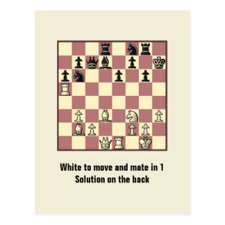 Chess Mate In 1 Puzzle 4 Postcard