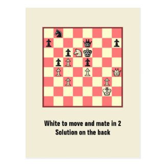 Chess Mate In 2 Puzzle 4 Postcard