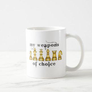 chess, my weapon of choice classic white coffee mug