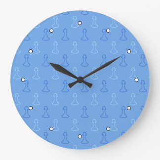 Chess Pattern in Blue. Large Clock