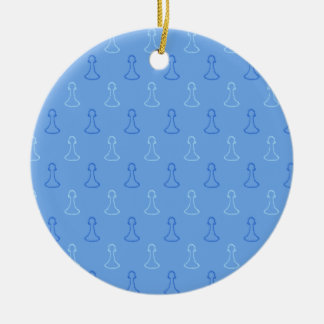 Chess Pattern in Blue. Christmas Tree Ornaments