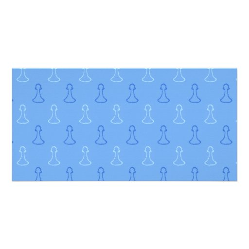 Chess Pattern in Blue. Photo Card Template