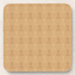Chess Pattern in Brown. Beverage Coaster