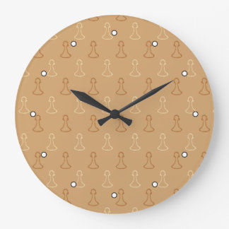 Chess Pattern in Brown. Large Clock