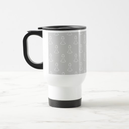Chess Pattern in White and Light Gray. 15 Oz Stainless Steel Travel Mug