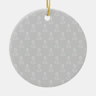 Chess Pattern in White and Light Gray. Christmas Ornament