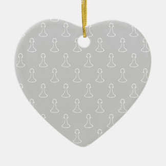 Chess Pattern in White and Light Gray. Christmas Tree Ornament