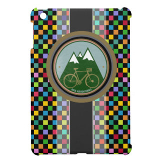 chess pattern , mountain and bike iPad mini cover