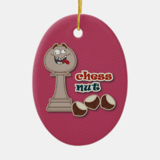 Chess Pawn, Chess Nuts and Chestnuts Ceramic Ornament
