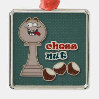 Chess Pawn, Chess Nuts and Chestnuts Metal Ornament
