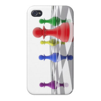 Chess pawns in different colors iPhone 4/4S fundas
