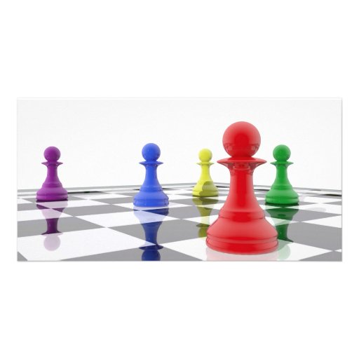 Chess pawns in different colors photo greeting card