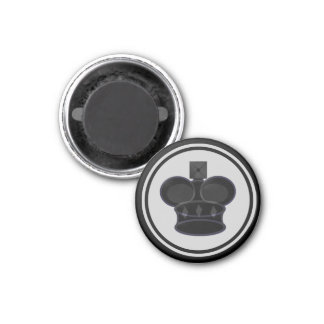 Chess Piece Black King 1 Inch Round Magnet