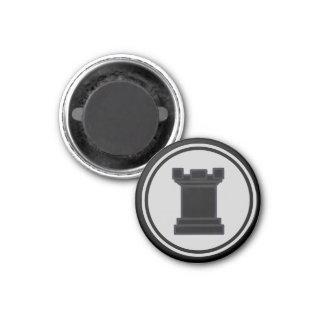 Chess Piece Black Rook 1 Inch Round Magnet