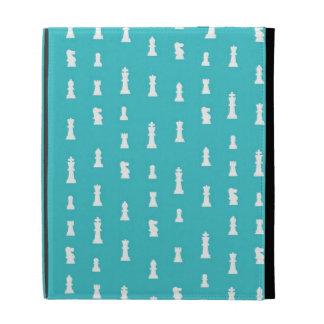 Chess piece pattern - teal blue iPad folio case