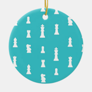 Chess piece pattern - teal blue ceramic ornament