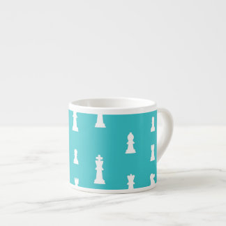 Chess piece pattern - teal blue espresso cup