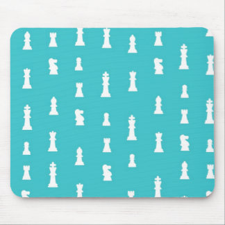 Chess piece pattern - teal blue mouse pad