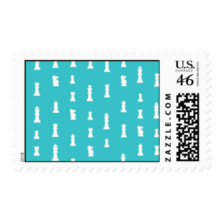 Chess piece pattern - teal blue stamp