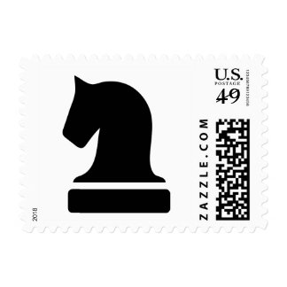 Chess piece postage stamps | Black knight horse