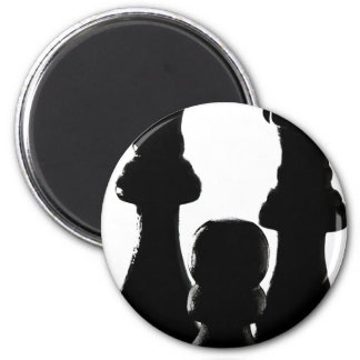 Chess Piece silhouette design 2 Inch Round Magnet