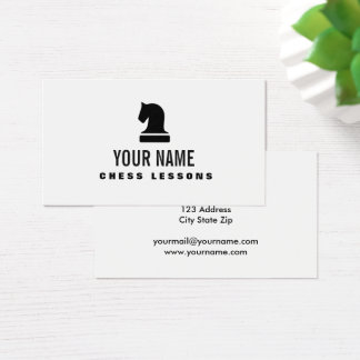 Chess piece teacher tutor business card template