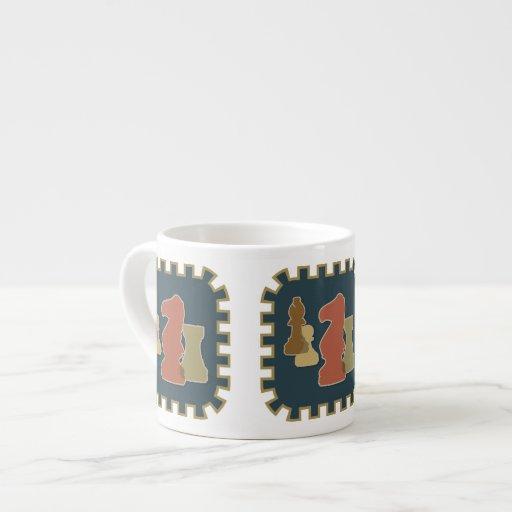 Chess Pieces Blue Expresso Mug Espresso Cup