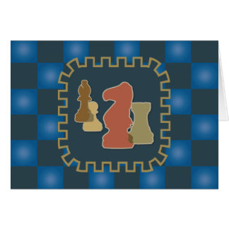 Chess Pieces Blue Greeting Card