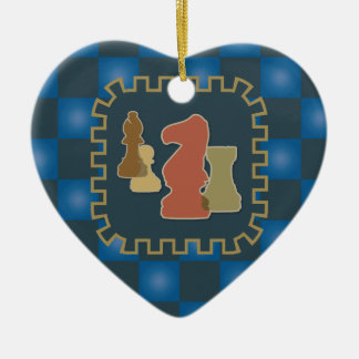 Chess Pieces Blue Heart Ornament