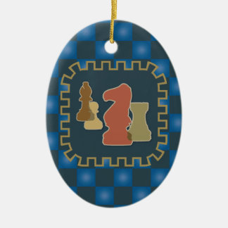 Chess Pieces Blue Oval Ornament