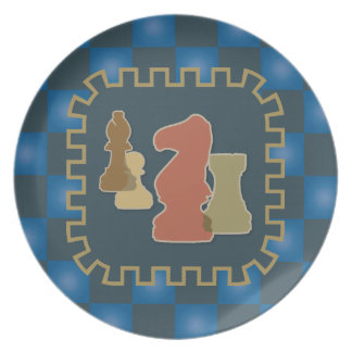Chess Pieces Blue Plate